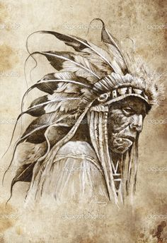 Indian chiefs | Sketch of tattoo art, native american indian head, chief, vintag ...