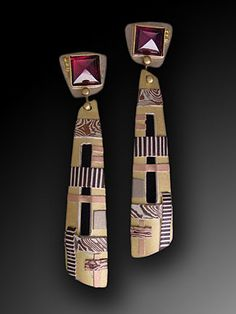 Fullerton/Bahr, Earrings with drop, 14k, 18k, sterling/18k bimetal, mokume gane, rhodolite garnets