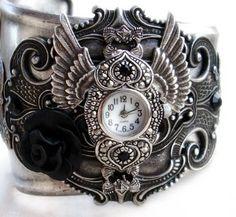 Steampunk Gothic Cuff Watch - Silver and black rose