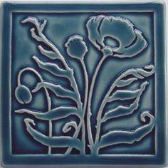 Arts and Crafts tile by Carreaux du Nord studio. Poppy tile in blue. Summer Arts And Crafts, Arts And Crafts For Teens, Art And Craft Videos, Arts And Crafts House, Easy Arts And Crafts, Crafts For Seniors, Arts And Crafts Projects, Azulejos Art Nouveau, Art Nouveau Tiles