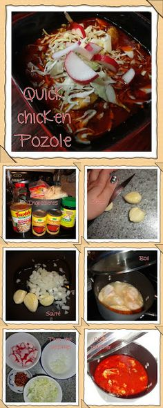 #clunkycrafts.com Quick and Easy Chicken #Pozole recipe. This looks so easy!! I'm going to try this today. But I'm going to use chicken thighs.