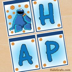 FREE printable Cookie Monster birthday banner to add to your Sesame Street party. 1st Birthday Banners, Baby Boy Birthday, 2nd Birthday Parties, Birthday Ideas, Party Banners, Birthday Invitations, Happy Birthday, Sesame Street Party, Sesame Street Birthday