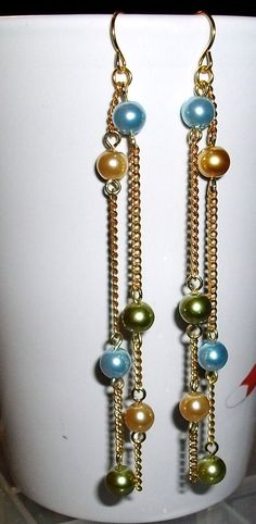 Pale yellow light green and pale blue dangle by mwadsworth on Etsy, $8.00