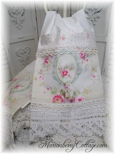 One Guest towel Pink Roses and blue ribbons ~ lovely site ~ available for sale cottage country shabby chic roses linens & lace ~ my style ~~~ wonderful special hand-mad gifts