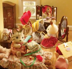 Playing dress up! Baby Doll Nursery, Baby Dolls, Sylvanian Families House, Sylvania Families, Calico Critters Families, Our Town, Little Critter, Dollhouse Furniture, Dollhouses