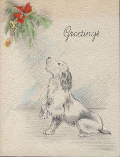 1930s Christmas card with doggie