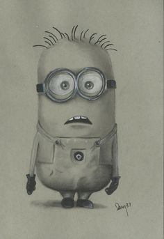 minion charcoal Art Print...if we could do this in art 105 I might be a happier girl.