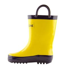 Lone Cone Children's Waterproof Rubber Rain Boots in Solid Colors with Easy-On Handles Simple For Kids, Yellow with Blue Trim, 3 M US Little Kid. NEUTRAL COLORS TO COMPLIMENT ANY OUTFIT - We chose primary colors, red, blue, black, and yellow to go with any apparel that a boy or girl might choose. Our colors will pair well with any rain jacket or pant and the playful trim will be a hit with any child. Our rainboots have been great every day shoes, a practical toddler gift, or a fun dress…