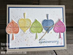 """Check out this week's Friday Quickie Video on the """"faux watercolor"""" technique using Stampin Up's Vintage Leaves and Better Together Stamp sets on my blog at www.thecreativitcave.com #stampinup #thecreativitycave #fauxwatercolor #watercolortechniques"""