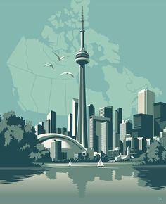 Illustration by ©Gary Alphonso Toronto Skyline, Toronto City, City Illustration, Digital Illustration, Travel Brochure Design, City Skyline Art, Vaporwave Wallpaper, Skyline Painting, City Drawing