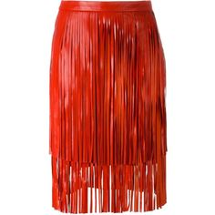 Drome Fringed Leather Skirt ($890) ❤ liked on Polyvore featuring skirts, red, red leather skirt, drome, leather skirt, knee length leather skirt and red fringe skirt