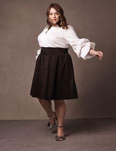 42fe3f59b6a59 Eloquii Corset Waist Midi Skirt - Black Plus Size Skirts