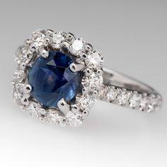 1.27 Carat Montana Sapphire & Diamond Halo Ring White Gold