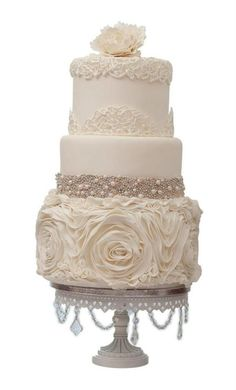 Classy white wedding cake idea from Cookie Couture / http://www.himisspuff.com/beautiful-wedding-cakes-for-your-wedding/30/