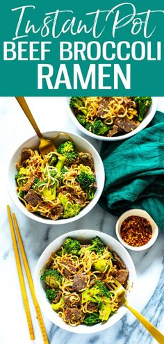 This Instant Pot Beef and Broccoli Ramen is a delicious stir fry noodle dish tha. - This Instant Pot Beef and Broccoli Ramen is a delicious stir fry noodle dish that comes together in - Stir Fry Noodles, Beef And Noodles, Instant Pot, Easy Beef And Broccoli, Freezable Meals, Ramen Noodle Recipes, Fried Beef, Meal Prep Bowls