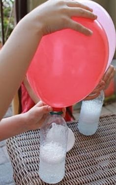 Baking powder + vinegar = helium Wrong. Baking Soda + Vinegar = Co2, which is heavier than air. The balloon did not float. It did blow up, however, it took about 1/4 C. of vinegar and many spoonfuls of baking soda.