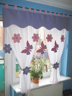 Vorhang-Set-Fensterdeko-Kinderzimmer-Motiv-gruen-140-180cm-Handarbeit-Kinder