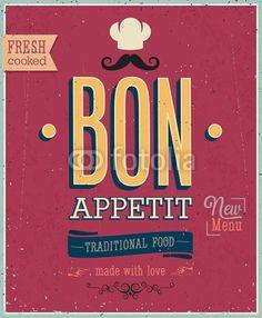 Vecteur : Vintage Bon Appetit Poster. Vector illustration.