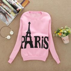 Eiffel Tower Pattern Long Sleeve Printed Pullover