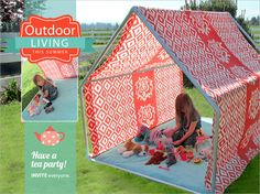Tutorial DIY outdoor playhouse tent & Daddy Grandpa and Uncle Max made this on a much bigger scale over ...