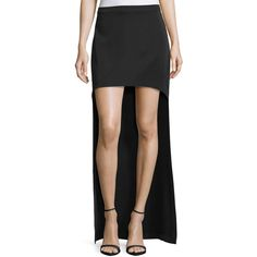 Halston Heritage High-Low Ponte Skirt ($96) ❤ liked on Polyvore featuring skirts, black, short front long back skirt, hi lo skirt, hi low skirt, ponte-knit skirts and high low skirt