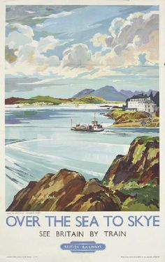 Vintage Railway Travel Poster - Over the sea to Skye - England -  byKenneth Steel.