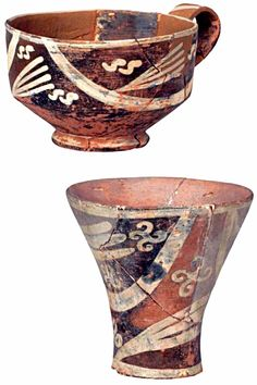 Cups decorated with motifs of «White Rhythm» and the symbols of the double «ς» (Hellenic Sigma) and counterclockwise ProtoSwastika - Eastern Crete - Tardive PrePalatial Period (2200-1800 B.C.)