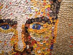 Bottlecap Modern Art Portrait | 20 Rad Things You Can Make With Bottle Caps