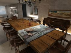 Rustic Dining Tables for Contemporary Looks: Rustic Dining Table Furniture Modern ~ Banffkiosk Dining Room Inspiration Dinning Room Table Rustic, Dinning Table Design, Reclaimed Wood Dining Table, Furniture Dining Table, Barn Table, Dining Tables, Rustic Wood, Plank Table, Wood Tables