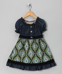 Adorable! Le Vintage Green & Blue Denim Floral Dress - Toddler & Girls