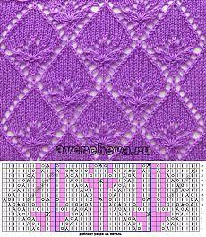 Узор 658 «трилистник в ромбах» | каталог вязаных спицами узоров