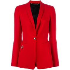 Philipp Plein fitted blazer ($1,235) ❤ liked on Polyvore featuring outerwear, jackets, blazers, red, shawl jacket, red blazer, long sleeve blazer, red shawl and long sleeve shawl