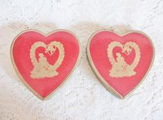 VTG Heart Shaped Valentine Boxes ~ Small Pair Red Candy Box ~ nice Vintage Touch ~ SOLD