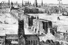An engraving by Claes Van Visscher showing Old London Bridge in with what is now Southwark Cathedral in the foreground. The spiked heads of executed criminals can be seen above the Southwark gatehouse. Tower Of London, London Bridge, London City, Fall Away, London History, British History, Norfolk, Southwark Cathedral, Spencer