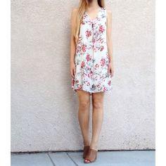"| new | floral shift dress new without tag! size large floral shift dress with attached slip. bust: 20.5"", length: 35"".  •871065•  website: xomandysue.com instagram: xomandysue Dresses"