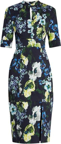 I couldn't find the one Kate Middleton wore but this one is damn similar! Dark floral dress with three-quarter sleeves. ERDEM Davina Hasu Night-print cotton-blend twill dress
