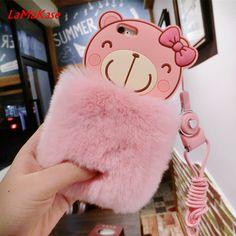 LaMaKase Luxury Fashion DIY Rabbit Fur Case For iPhone7 7P 6 6sP 5S 5C Cute Bear Cartoon Warm Fluffy Hair Plush Soft Case Cover #Affiliate