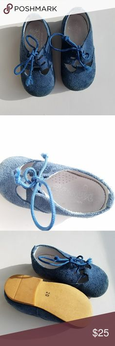 Bambi Blue Suede Brogues Adorable Blue Suede Brogues, Made in Spain, Size 20 or fits a Size 4 Bambi Shoes Baby & Walker