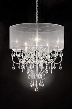 Silver chrome finish metal and glass crystal hanging chandeliar ceiling lamp with collapsible sheer shade. Measures 26 x 26 x 31 H. Some assembly required. Closet Chandelier, Country Chandelier, Drum Chandelier, Crystal Chandeliers, Ceiling Lamp, Ceiling Lights, House Color Palettes, Sheer Shades, Solar Light Crafts