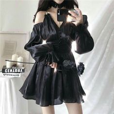 Womens Black Gothic V Neck Loose Lantern Sleeves Camisole Dress Cosplay Skirt Kpop Fashion Outfits, Ulzzang Fashion, Edgy Outfits, Korean Outfits, Cute Casual Outfits, Pretty Outfits, Pretty Dresses, Korean Fashion, Fashion Dresses