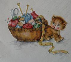 Adorable Kitten  Happy Mother's Day  Vintage by Colorsforkidsshop, $5.00