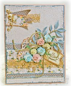 Shabby card, roses, stitching, banner