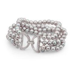 Grey Round 4 Row FW Pearl Bracelet w CZ Clasp
