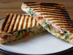Avocado, Tomato, Basil and Red Onion Sandwich