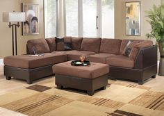 Awesome Design Ideas Of Ikea Living Room Sets With Brown Colored Sofas And Chaise Also Square Shape Coffee Table And Plaid Pattern Cream Also Brown Colors Plush Carpet Also Cream Wall Paint Color And Glass Windows Also Plant Pot Ornaments Also Standing Floor Lamp And Wooden Laminated Floor With Brown Living Room Furniture Sets Also Leather Sofas, Wonderful Design Ideas Of Ikea Living Room Sets: Furniture