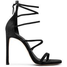 Stuart Weitzman MYEX (£188) ❤ liked on Polyvore featuring shoes, sandals, heels, zapatos, black, stuart weitzman, kohl shoes, heeled sandals, black heeled sandals and stuart weitzman shoes
