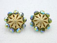 VTG RARE CROWN TRIFARI Gold Tone Green Aurora Borealis Crystal Clip Earrings #Trifari #Clip