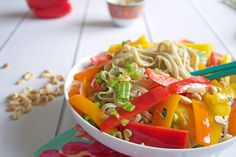 Summer Pad Thai Noodle Salad Thai Noodle Salad, Pad Thai Noodles, Roasted Peanuts, Gluten Free Recipes, Dairy Free, Main Dishes, Veggies, Vegetarian, Stuffed Peppers