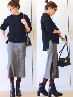 大人のユニクロはこう着こなす♡プチプラで作る高見えコーディネート集! | folk Midi Skirt, Normcore, Skirts, Pants, How To Wear, Clothes, Beauty, Style, Kleding