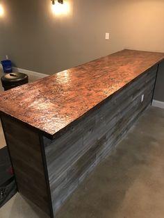 We created these custom copper bar tops. Reno Ideas, Bar Ideas, Copper Bar Top, Steampunk Bar, Nord Est, Bar Tops, Basement Bar Designs, Billiard Room, Tasting Room
